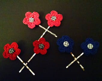 Crocheted flower hair pins