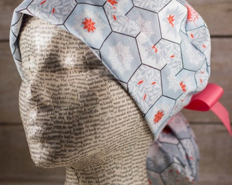 Womens Scrub Cap Ponytail - Coral Birds and Snowflakes on Light Blue with Coral Grosgrain Ribbon