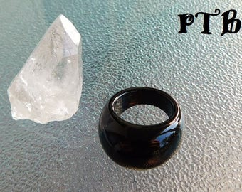 Grounding/Negativity Protection ~ Authentic Natural Black Agate Solid Gemstone sz 7 Dome Ring