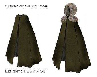 Half-long cloak for men or women, fully customizable ( color and fintions)