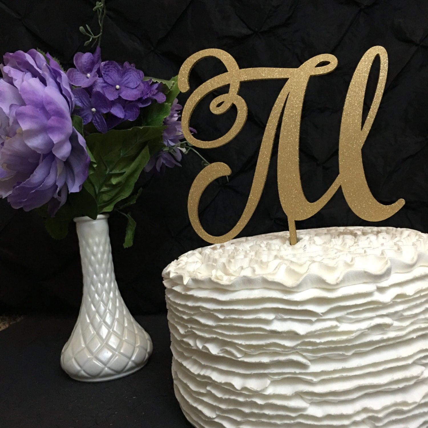 rose gold glitter wedding cake topper monogram cake topper letter cake topper wedding cake 19276