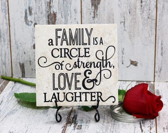 A Family Is A Circle Of Strength Love and Laughter Vinyl Decal Quote Tile, Vinyl Decal Quote Tile, Family Quote Tile, Family Quote