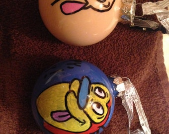 Ren and Stimpy ornaments glass (set of 2)