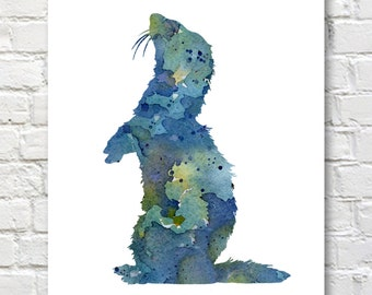 Ferret Art Print - Abstract Animal Art - Watercolor Painting - Wall Decor