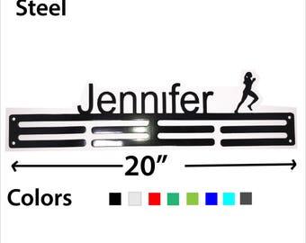 Girl Runner - Steel Medal Hanger