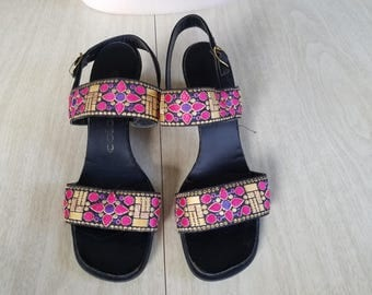 Vintage Black Sandals in Purple and Gold Fabric Straps