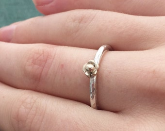 gold flower ring - Gold and silver ring - flower stacking ring - flower ring - silver and gold stackers - rose gold flower - nature ring