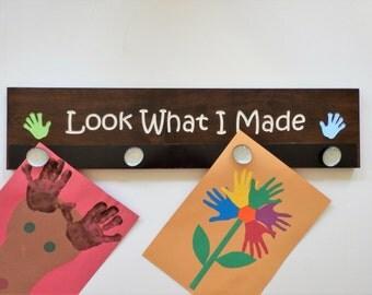 Look What I Made Sign - Kids Art Display Magnetized - Children's Art Display - Child's Artwork Display - Kid's Art Board