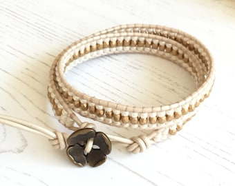 Leather Wrap Bracelet in Matt Gold & Cream - UK seller - Boho bracelet - Gift for Women, Girlfriend