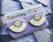 Vintage Samuel Huang Cloisonné Ivory Purple and Pink Gold Trimmed and Gold Post Earring Set