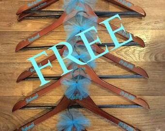 FREE Bride hanger, Bridal Party Hangers, Wood Wedding Hangers