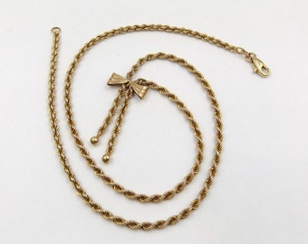 9ct Gold Bow Necklace | 9k Rope Twist Chain | 4.4 grams