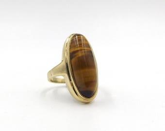 9ct Gold Tiger's Eye Ring | 9k Women's Statement Ring | UK size P ~ US size 7 1/2 | Ladies 375 Big Ring