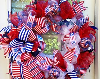 July 4th Patriotic Wreath, Front Door Wreath, American Flag Mesh Wreath, Patriotic Wreath, Everyday Patriotic Door Wreath, Memorial Day Door