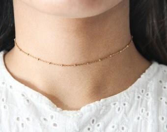 Satellite Choker, Satellite Chain, Dainty Gold Chain Choker, Gold Bead Chain Choker
