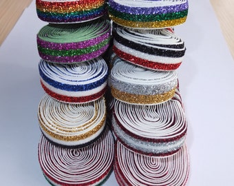 5 Yards Striped Glitter elastic bands 5/8'' Apparel Sewing Elastic Fabric DIY Garment accessories Hair Elastic Headband Hair band Hair bow
