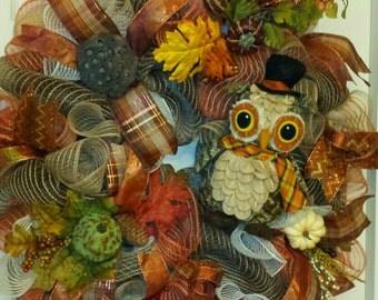 Owl Fall Wreath, Fall Owl Wreath, Owl Door Wreath, Fall Door Wreath, Owl Everyday Wreath, Fall Poly Jute Mesh Wreath with Owl and Dried Pods