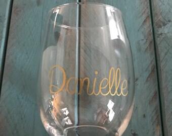 Custom name wine glass, personalized wine glass, wedding present wine glasses, anniversary present wine glasses, house warming wine glasses