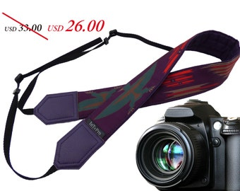 Camera strap inspired by Native American. Eagle Ethnic Camera strap. Dark purple DSLR Camera Strap. Camera accessory by InTePro