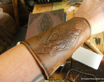 Leather Gauntlet Bracer with any Design