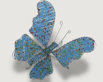 Hand-Beaded Butterfly Sculpture - Blue