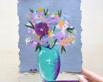 Wall Decor Flowers Painting Home Decor Gift Idea Original Painting Gift For Mom Impressionist Flower Vase Painting Wall Art Abstract Art