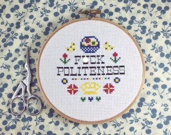 "My Favorite Murder ""F*ck Politeness"" Completed Cross Stitch in Hoop"