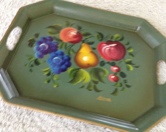 Metal Serving Tray with Handles by Nashco Products Signed Francis 1950s Hand Painted with Fruits