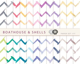 HANDDRAWN WATERCOLOR CHEVRON, Scrapbooking digital paper packwinth , printable, instant download - 24 papers - 177