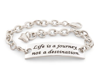 Life is a journey not a destination- inspirational bracelet - inspirational jewelry - encouraging jewelry - stamped bracelet - gift for her