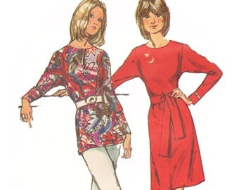 Dolman Sleeve Dress Pattern Tunic Top Pattern Vintage 1970s Sewing Pattern Simplicity Jiffy 9983 Size 14 Bust 36