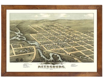 Reedsburg, WI 1874 Bird's Eye View; 24x36 Print from a Vintage Lithograph