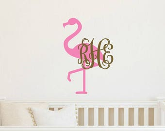 Flamingo Wall Decal Flamingo Monogram Decal Tropical Wall Decal Preppy Wall Decal Flamingo Vinyl Decal Tropical Vinyl Decal Nursery Decal