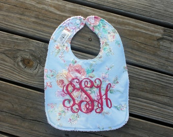 Infant/Toddler Bib with Monogram- bib and burp cloth,  baby gift, monogrammed baby gift, flowers, floral, baby girl, floral bib