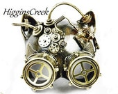 Gatto steampunk Mask masquerade mask Party Metalic Silver Goggle Cat face mask with Goggle