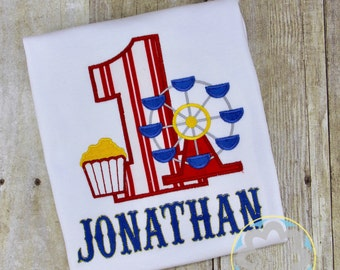Carnival, Ferris Wheel Themed Monogrammed Personalized Birthday Shirt