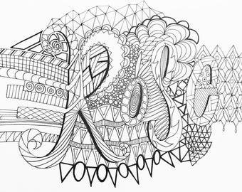 Custom colouring sheets/name art/unique art/mindfulness art/colouring sheet/colour in/colouring book/printables/patterned art/unique art