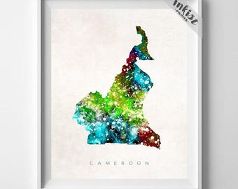 Cameroon Map Print, Yaounde Print, Cameroon Poster, Home Decor, Map Art, State Art, Giclee Art, Map, Travel Poster, Christmas Gift