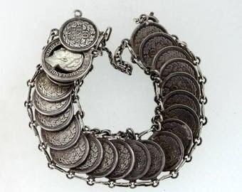 Vintage Sterling Silver Coin Bracelet
