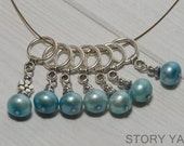 Luxe Stitch Markers - Baby Blue Pearl with Pewter Toggle Loop, 7 markers included, for knitting