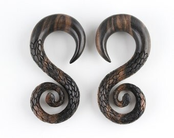 "11mm Serpent Stretch Earrings - 7/16"" Stretching Plug Earrings - 11mm Hand Carved Snake Plug Earrings - 11mm stretch plugs - F001"