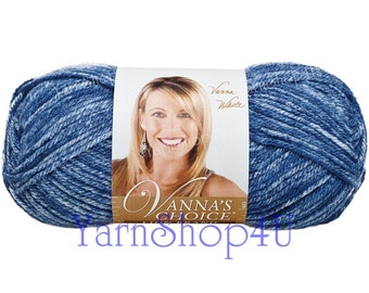 DENIM MIST yarn Vanna's Choice Yarn, Lion Brand Vanna's Choice yarn, Lion Brand Yarn, Blue denim yarn, blue ombre yarn, blue acrylic yarn