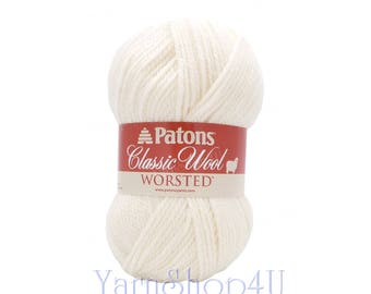 WINTER WHITE Wool Yarn. Patons Classic White Wool yarn. 100% Pure New Wool. Perfect for Felting! This is 3.5 ounce | 210yds of worsted 4