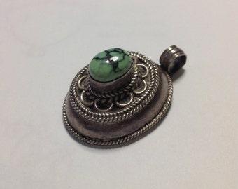 Vintage Tibetan silver pendant, turquoise stone, Himalayan jewelry, Tibetan vintage pendant