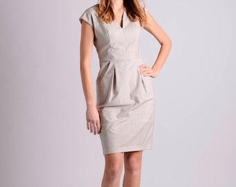 Cotton elegant midi shift dress | beige
