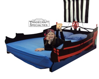 Pirate ship full kids bed frame - handcrafted - nautical themed children's bedroom furniture