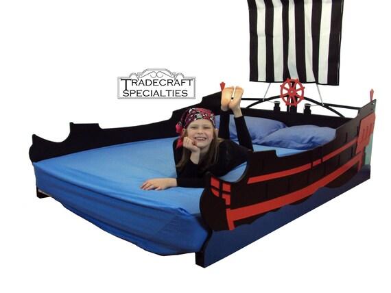 pirate ship full kids bed frame handcrafted nautical. Black Bedroom Furniture Sets. Home Design Ideas