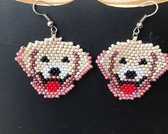 Czech Seed Bead Earrings Beaded Jewelry Beadwork Women Accessory Beaded dangle earrings Golden Retriever Dog Jewelry Pet Lovers Earrings