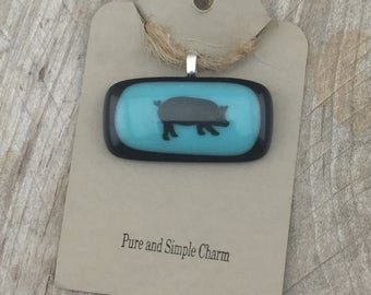 Pig Pendant, Pig Jewelry, Pig Necklace, Fused Glass Pig, Fused Glass Jewelry, Fused Glass, Blue Glass Pendant, Barnyard Animal, Pig Gifts