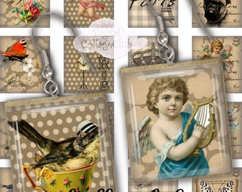 Shabby Chic Scrabble Tiles Digital Collage Sheet Square Images for Earrings, Pendants, Jewelry Making, 73 x .85 vignettes.
